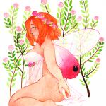 Aquarelle d'une fée et de fleurs