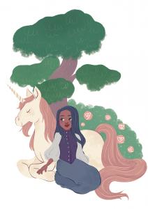 Dessin d'une femme assise près d'une licorne