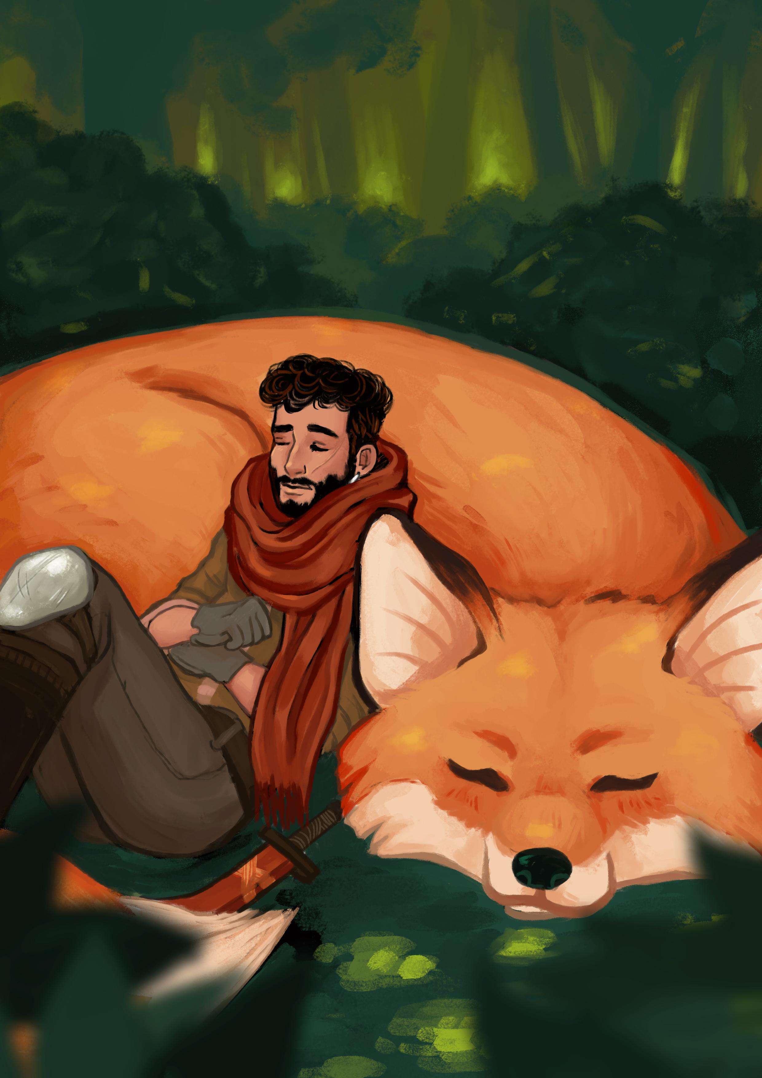 Dessin d'un renard géant et de son maître