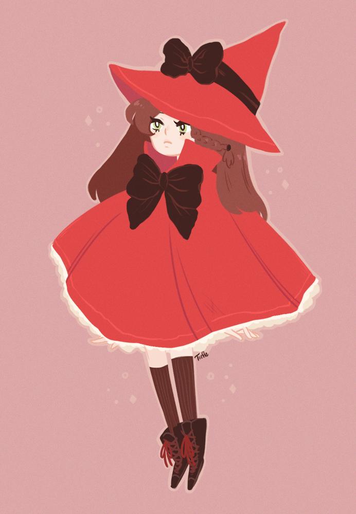 Dessin d'une petite sorcière rouge